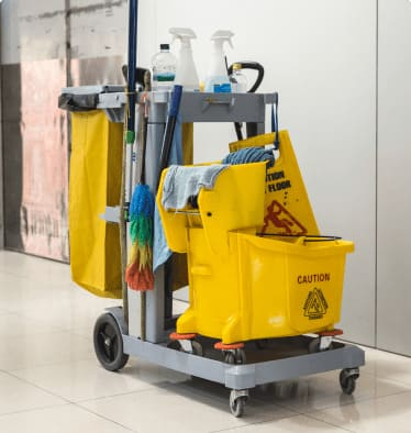 JANITORS CART WITH CLEANING SUPPLIES