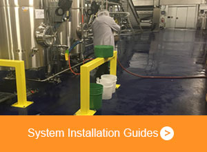 Kretus Products being applied to a factory floor - System Installation Guides